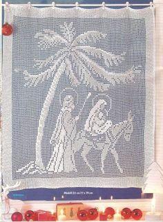 cortina com cena do nascimento de Cristo.