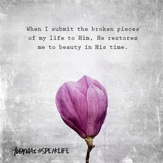When I submit the broken pieces of my life to Him, He restores me to beauty in His time. Biblical Quotes, Meaningful Quotes, Faith Quotes, Spiritual Quotes, Bible Quotes, Bible Verses, Inspirational Quotes, Scriptures, Motivational