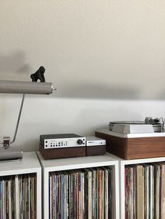 Empire 398 turntable. Nagra BPS. Benchmark DAC. Record shelves. Vynil records.