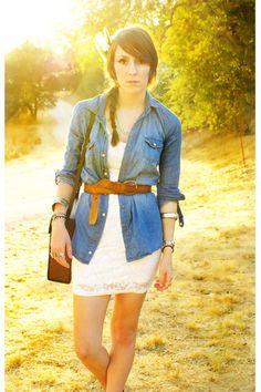 white lace h & m dress - blue denim shirt - brown leather belt