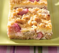 Rhubarb-Ginger Cream Cheese Bars - I adore rhubarb  Will have to try these this summer when I get my fresh rhubarb