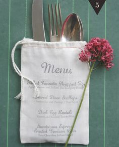 A simple way to display the menu to each guest at a dinner party. Don't forget to add a salad! Via A Blog Named Scout