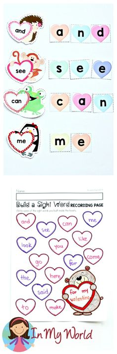 FREE Valentine's Day Literacy Centers for Kindergarten. Build a sight word with conversation hearts.