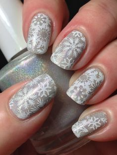 Canadian Nail Fanatic: White Holo Snowflakes