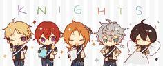 Narukami Arashi, Suou Tsukasa, Tsukinaga Leo, Sena Izumi, and Sakuma Ritsu   Ensemble Stars! Ritsu Sakuma, Ensemble Stars, Sword Art Online, Anime Boys, Knight, Idol, Anime Guys, Cavalier, Knights