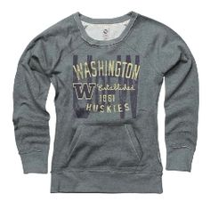 Women's Scoop Washington Huskies Crewneck Sweater (cute preppy look with a plaid collared shirt underneath!)