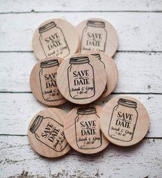 50 Custom Mason Jar Save The Date/Wedding Favor Wood Magnets