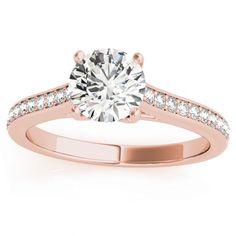 Transcendent Brilliance 14k White Gold Classic 3/4 TDW Diamond Engagement Ring (Rose - Size 7), Women's, Pink