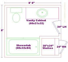 Modify this one 8x11 bathroom floor plan with double bowl for Bathroom remodel 8x10