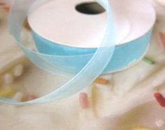 Light Blue Organza Ribbon Trim 5/8 Inch for 2 Yards Floral Supply Craft Supplies