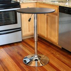 Bar Table Adjustable 25-Inch Vinyl Covering Chrome Base Kitchen Bar Game Room #Amerihome #ClassicVintage