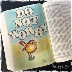 "Matt - ""Do not be anxious about tomorrow. Faith Bible, My Bible, Bible Art, Bible Knowledge, Illustrated Faith, Bible For Kids, Anxious, Journal Inspiration, Doodle Art"