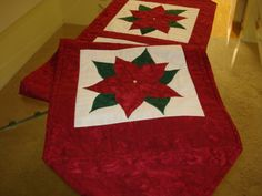 Poinsettia Quilted Table Runner Made for You by MurphysHouse