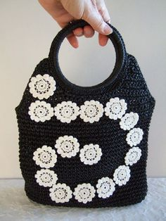 Unique OOAK Crocheted Handbag with Crocheted White Appliques a Spiral Design, by IshiVintageHandmade, $24.50