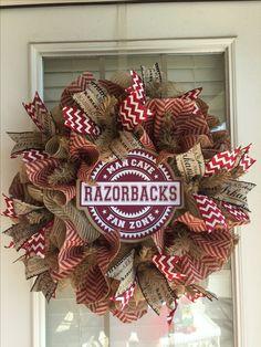 Arkansas Razorback Wreath, University of Arkansas Wreath, Man Cave Wreath