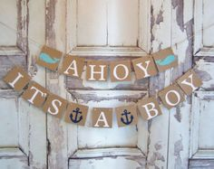 Ahoy It's a Boy baby shower banner, nautical theme, baby shower, whales, baby shower decorations, nursery decoration, baby room , photo prop Baby Shower Decorations For Boys, Boy Baby Shower Themes, Baby Shower Signs, Baby Boy Shower, Baby Boys, Baby Boy Rooms, Baby Boy Nurseries, Girl Rooms, Its A Boy Banner