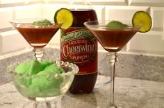 "Surviving The Holidays With A Punch: Tip #6 ""Mix flavored sherbert with Cheerwine® Holiday Punch for a festive flair."" Pineapple or raspberry are truly tasty, but lime really gets you in the holiday spirit! #survivingtheholidays with #cheerwineholidaypunch"
