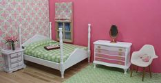 dollhouse bedroom with diy furniture, crafts, shabby chic