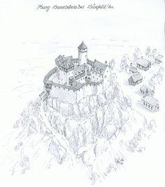Burg Haselstein Fantasy Town, Fantasy Castle, Medieval Fantasy, Fantasy World, Castle Sketch, Castle Layout, Castle Drawing, Scandinavian Art, Medieval Castle