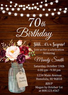 Birthday Invitations for Women, Surprise Birthday Invitation, Floral Birthday Invitation, Rustic Birthday Invitation Wooden, – Cumpleaños Personalized Invitations, Rustic Invitations, Floral Invitation, Invitation Ideas, Invitation Background, Invitation Design, Wedding Invitations, 60th Birthday Ideas For Mom, 80th Birthday