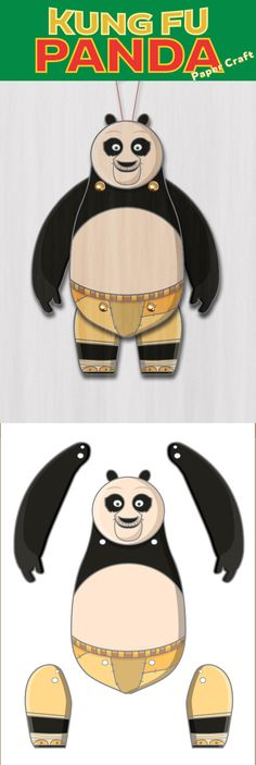 Create your own Kung Fu Panda Paper Puppet. Paper Puppets, Paper Toys, Kung Fu Moves, Bunny Origami, Panda Craft, Kung Fu Panda 3, Panda Party, Paper Animals, Old Toys