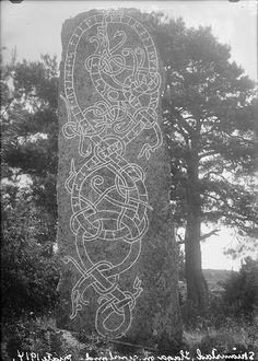 "Rune stone (U 460) in Skråmsta. The inscription says: ""Ingefast had the stone raised in memory of Olev, his father, and Öd in memory of her husband"".  Runsten (U 460) i Skråmsta. Ristningen säger: ""Ingefast lät resa stenen efter Olev, sin fader, och Öd efter sin man"".  Parish (socken): Haga Province (landskap): Uppland Municipality (kommun): Sigtuna County (län): Stockholm  Photograph by: Erik Brate Date: 1914 Format: Glass plate negative  Persistent URL…"