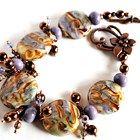 WOOWWEEE!    Lampwork Bead Bracelet Lavender Glass with Swarovski Crystal Earrings