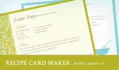 FREE Recipe Card Maker | Skip To My Lou - I love these recipe cards!! Not only can you have two different sizes (6x4 or 5x3), but they are editable as well. You type in the ingriedients and directions, print on cardstock, cut out and you have your recipe cards ready to give out or to add to your stash. I printed up some recipes this weekend using the blue one, they are so cute!!