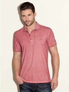 GUESS Pique Polo Shirt - Tonal embroidery, soft faded look.  Thumb up or down?