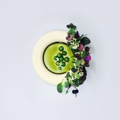 Parsnips, sunchoke, celery, baby peas, pumpkin seed oil, and calamansi vinegar sprayed on a micro greens salad by @zoonder #TheArtOfPlating