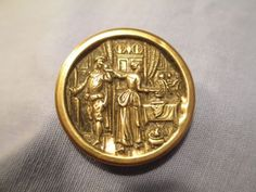 brass picture button titled Love's Service