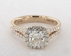 1.3ct Cushion Halo Engagement Ring in Yellow Gold - See it in 360 HD SuperZoom!