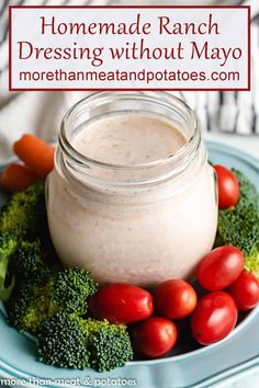Looking for a ranch dressing without mayonnaise? Then try our ranch dressing no mayo recipe. All the flavor of ranch dip or dressing without the mayo! #morethanmeatandpotatoes Best Salad Recipes, Salad Dressing Recipes, Sauce Recipes, Beef Recipes, Salad Dressings, Dip Recipes, Easy Recipes, Vegan Recipes, Healthy Pasta Sauces