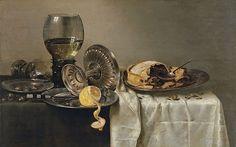 Willem Claesz. Heda, Stilleven met vruchtentaart en verschillende voorwerpen, 1634, olieverf op paneel, 43.7 x 68.2 cm, Museum Thyssen-Bornemisza, Madrid