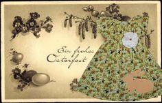 """Allerliebstes Mädchenkleid mit Hasendruck und Blume.    *Das Ei und der Osterhase*  Die am Gründonnerstag gelegten Eier, die """"Gründonnerstagseier"""", so"""