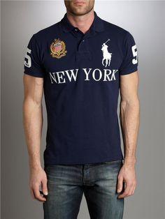 2f5e55fbc678 Polo Ralph Lauren Mens Polo Shirt New York USA Crest Custom Fit Top