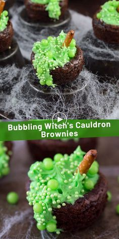 We love making these bubbling witch's cauldron brownies for our halloween party each year! This is an easy halloween treat for kids to help with! desserts for parties videos Halloween Bubbling Witch's Cauldron Brownies