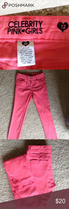 CELEBRITY PINK GIRLS SKINNY JEANS These are in perfect condition great color Who doesn't love PINK? Celebrity Pink Bottoms Jeans