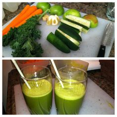 "DINNER JUICE! (2) Apples (3) Carrots (3) Kale leaves (1) Cucumber (1/2) Lemon (1"") Piece of ginger  www.JUICINGANDMORE.com"