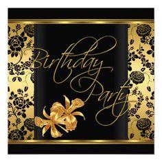 Elegant Gold Black Damask Birthday Party Personalized Invites