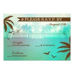Tropical Teal Scenic Beach Wedding RSVP Custom Announcements