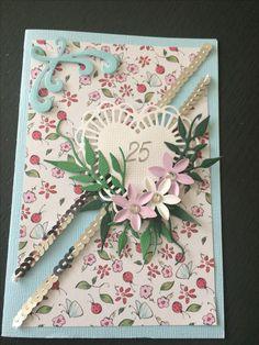 Kort / card Sølvbryllup / Silver wedding Hjerte / heart