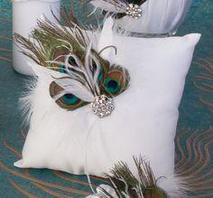 peacock Wedding Centerpieces | Peacock Collection Ring Pillow Customize Colors Available | My Wedding ...