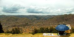 #peru, #cusco;  looking down at the city with a painter.