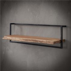 Wall shelf Jax 100 cm Solid Wood - Available from stock at Furnwise - Furnwise Industrial Wall Shelves, Solid Wood Shelves, Wood Wall Shelf, Delft, Diy Cardboard Furniture, Diy Furniture Projects, Wall Racks, Steel Wall, Steel Frame