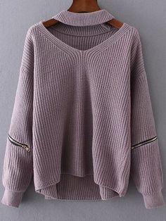 Purple Choker V Neck Zipper Detail Sweater -SheIn(abaday)
