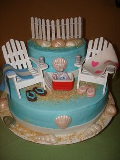 Couples+shower+cake+-+A+couple+showers+cake+for+my+nephew+and+his+lovely+bride+to+be.+The+only+thing+that+I+did+not+make+and+are+not+edible+are+the+chairs,+fence,+cooler,+and+bad+of+ice.+The+sea+shells+are+chocolate+along+with+the+flip+flops.+Gumpaste+and+fondant+towels+and+beer+cans.