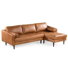 Florence Mid Century Modern Right Sectional Sofa Cognac Tan - Poly & Bark : Target Sectional Sofa With Chaise, Leather Sectional Sofas, Sleeper Sofas, Leather Chairs, Large Sectional, Sofa Set, Living Room Sectional, Living Room Furniture, Apartment Furniture
