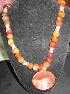 red agate necklace with a red agate pendant  20.00$