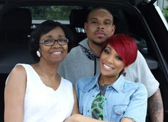 Monica Brown with her husband Shannon and her mother